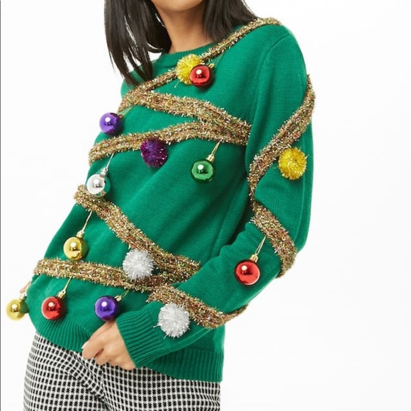 Forever 21 Sweaters Ugly Christmas Sweater Christmas Tree Sweater